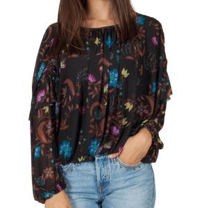 NWT Free People Black Floral Top